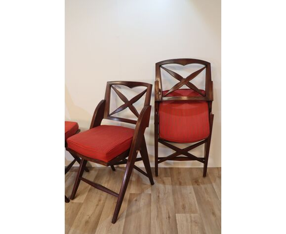 Série de 4 chaises pliantes vintage 1950