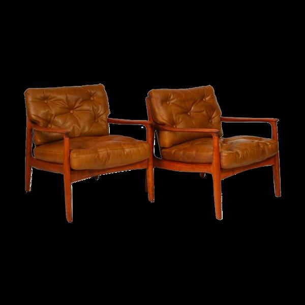 Paire de fauteuils en cuir Eugen Schmidt pour Soloform