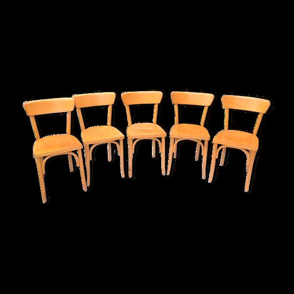 Suite de cinq chaises bistrot pieds avec arceaux / vintage années 50-60