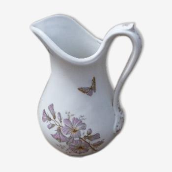 Pichet de toilette fleurs et papillons