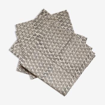 Lot de 4 serviettes block-print noir et beige