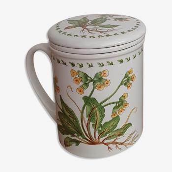 Tisanière en céramique motif fleurs jaune