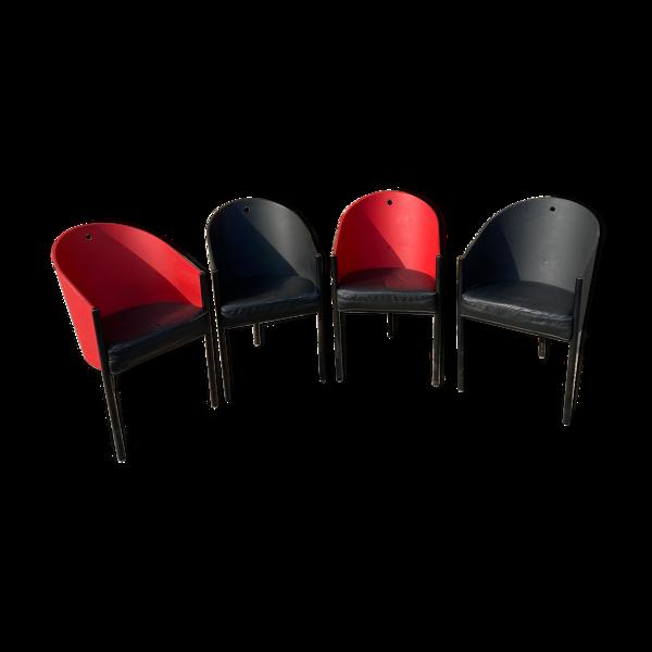 Selency Lot de 4 fauteuils années 80 dans le style de Stark