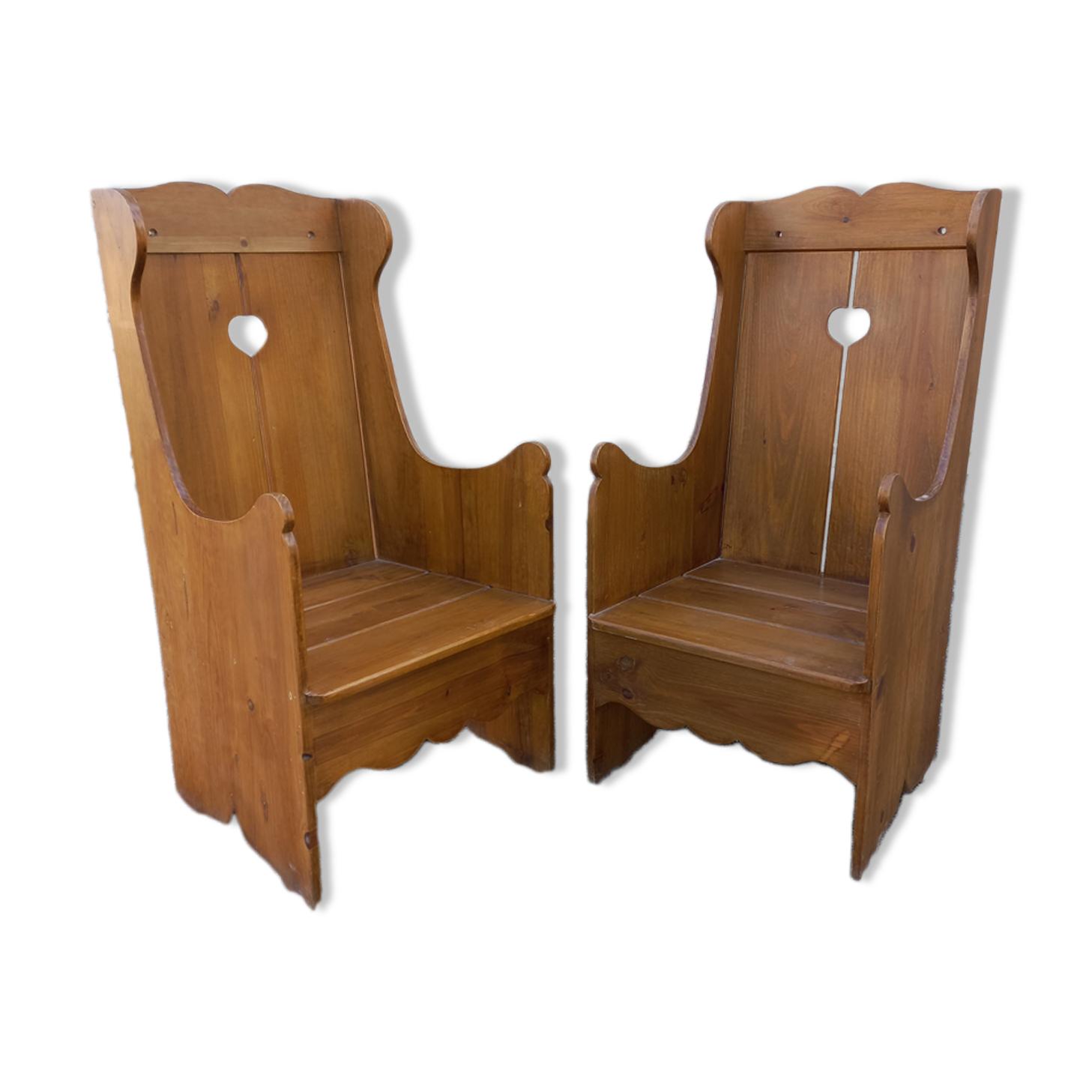 Paire de fauteuils, mobilier de montagne