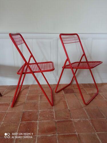 Paire de chaises pliantes vintage en metal