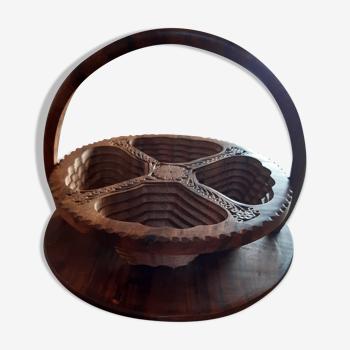 Plateau apéritif artisanal en bois pliable