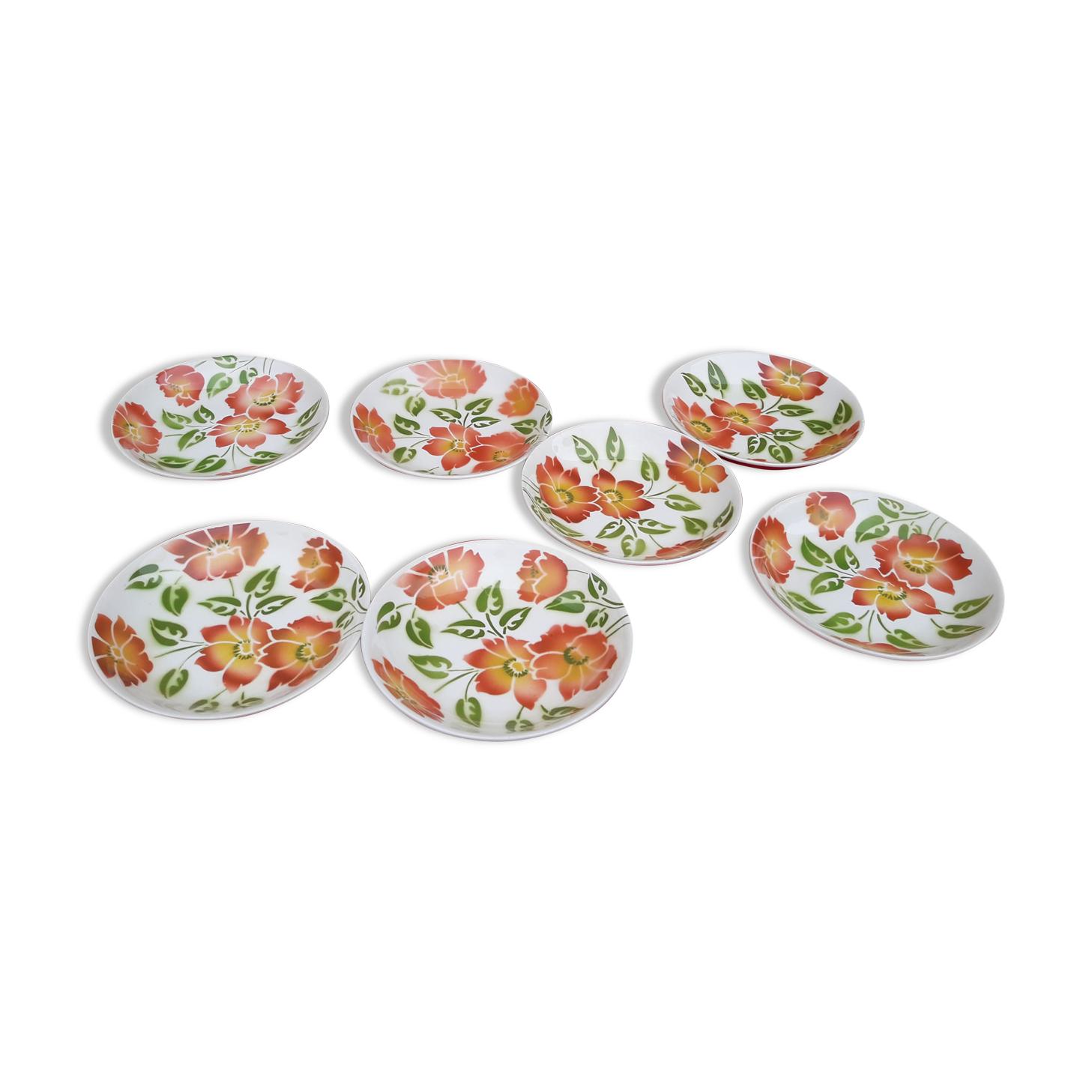 Set de 7 assiettes creuses en faïence Moulin des loups orchies modèle Ontario diam 21,5 cm