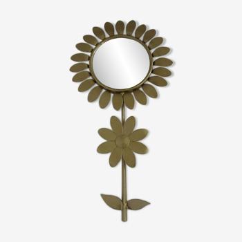 Miroir fleur, bombé, oeil de sorcière en métal doré années 60 70