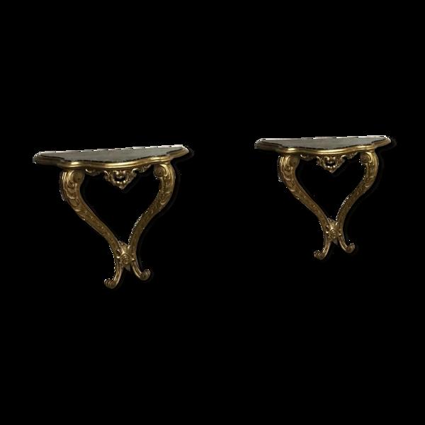 Selency Paire de consoles en bois doré sculpté de style Louis XV