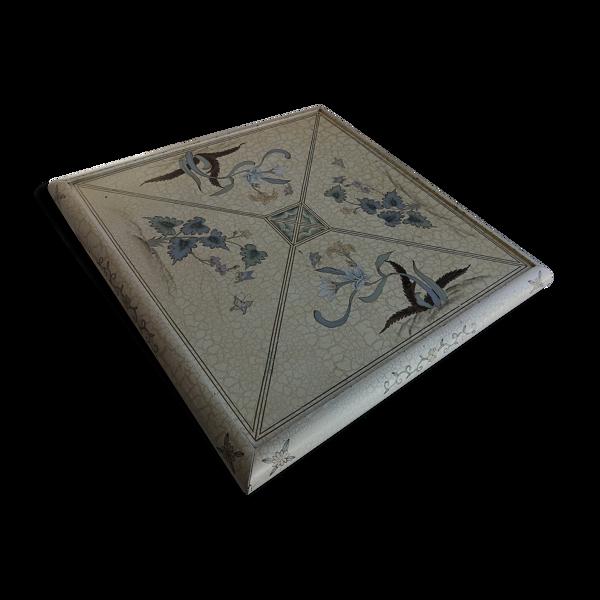 Table basse carré vintage années 70 décor imitation marbre