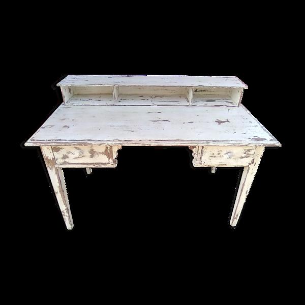 Bureau en bois avec gradin patiné