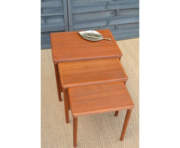 Trundle tables made of Danish teak