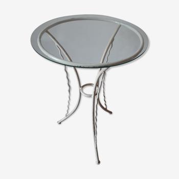 Table d'extérieur métal blanc et verre