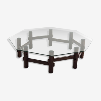Table basse de style italien en palissandre avec plateau en verre