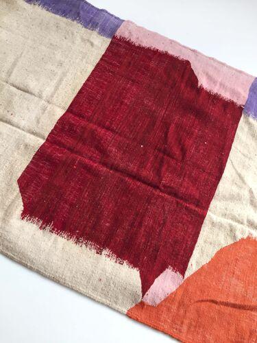 Tapis Kilim berbère marocain écru à aplats colorés 247x146cm
