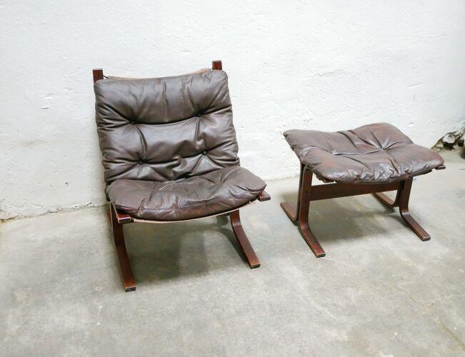 Fauteuil et ottoman scandinaves Siesta en cuir marron par Ingmar Relling pour les éditions Westnofa