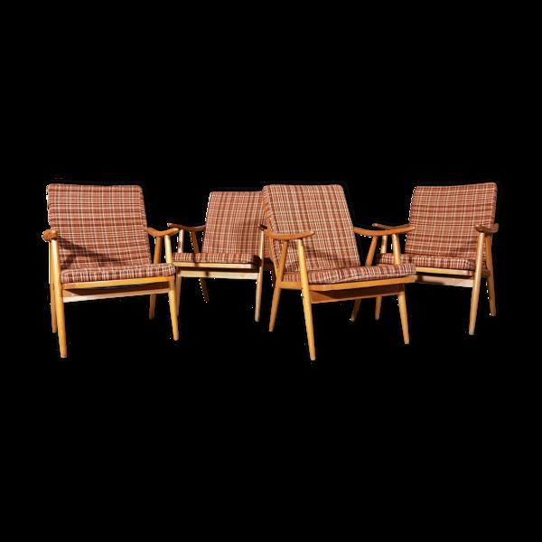 Selency Lot de 4 fauteuils Thonet Boomerang