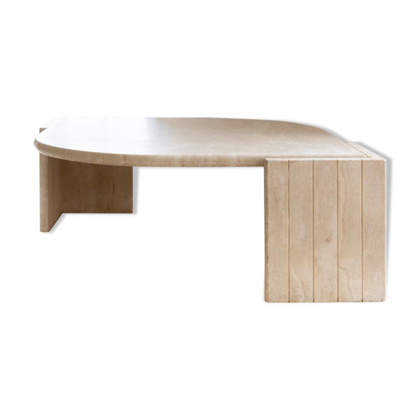 Selency Table basse en travertin le coquillage