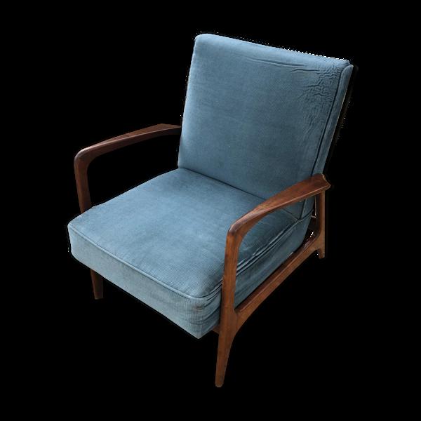 Fauteuil danois années 50 fine côte de velours bleues