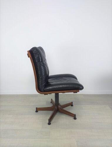 Vintage Scandinavian leather office armchair 60s