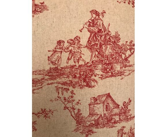 Coussin rectangulaire en toile de jouy rouge