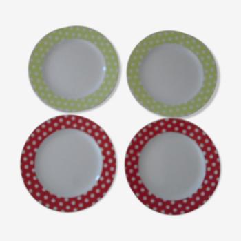 Set de 4 assiettes pois gourmands Guy Degrenne porcelaine diamètre 20 cm