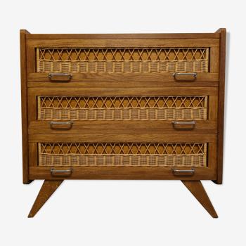 Commode vintage en bois et rotin des années 50/60
