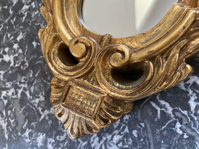 Miroir doré au décor de rose années 60 - 43x23cm