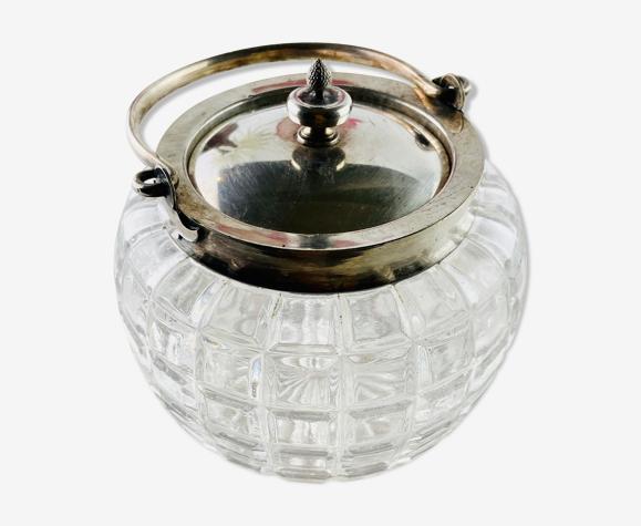 Sucrier ou bonbonnière verre taillé et métal argenté