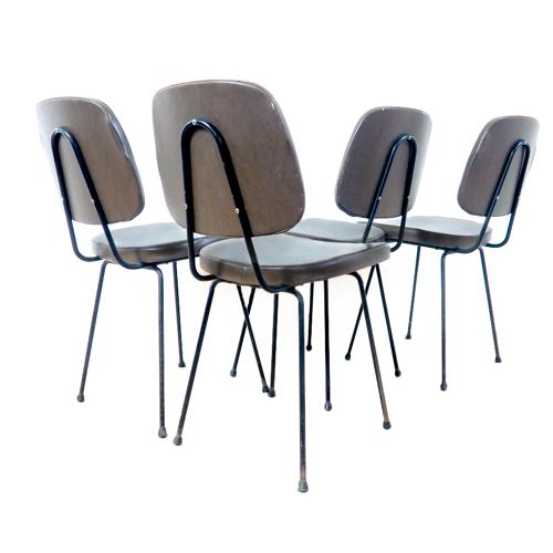 Ensemble de 4 chaises en Skaï années 60