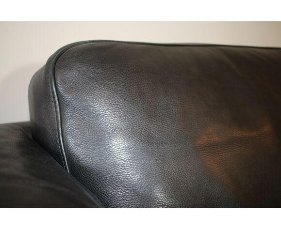 Black leather sofa from Denmark