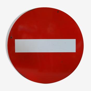 Plaque émaillée vintage «sens interdit» panneau réformé