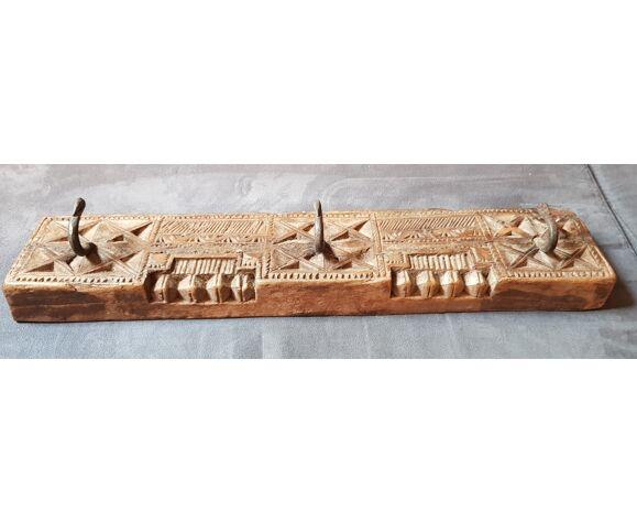 Coat rack 3 hooks in carved teak / 2 back hooks for wall hanging