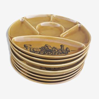 Set de 8 assiettes à fondue en faïence de Gien  diam 24 cm