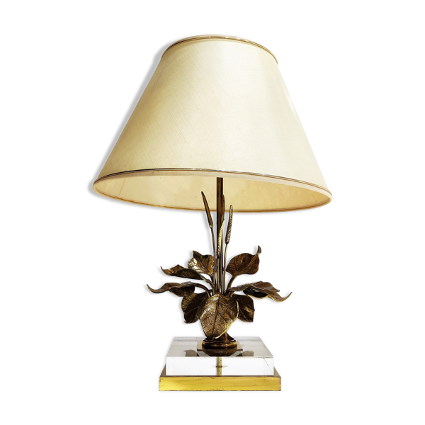 Lampe de table de fleur de fleur d'époque années 1970
