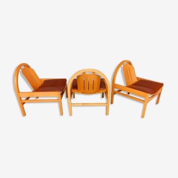 3 vintage armchairs Baumann model Argos 80s