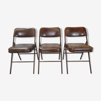 Rare suite de 3 chaises Samsonite 1977 assise marron