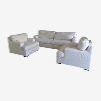 Canapé 4 places 2 fauteuils et 2 tables en tissu