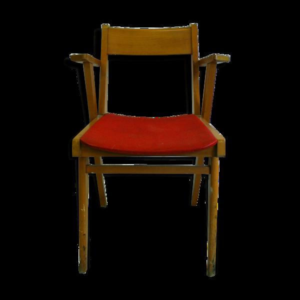 Fauteuil années 50 rouge et bois