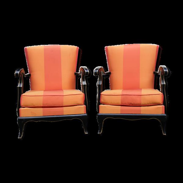 Paire de fauteuils laqué noir Steiner