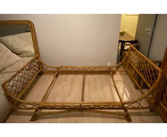 lit rotin vintage une personne