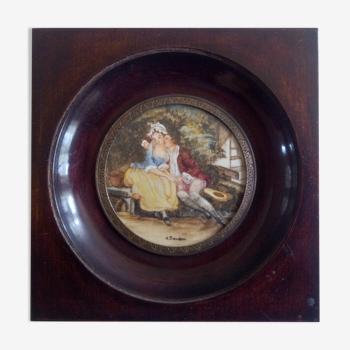 """Peinture miniature gouache """" Scène galante """" signée BAUDOIN"""