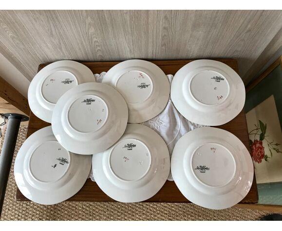 Lot de 7 Assiettes plates Digoin et Sarreguemines numérotées 4911