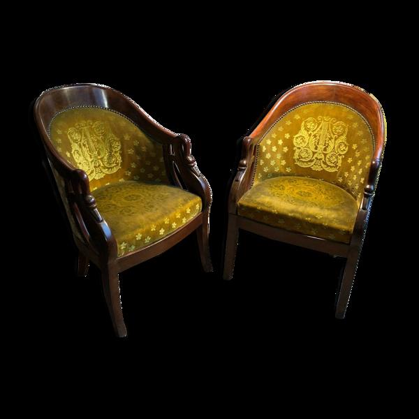 Selency Paire de fauteuils gondole col de cygne fin du 19e siècle
