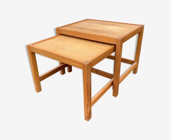 Tables gigognes en pitchpin vintage
