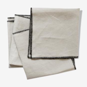 Lot de 4 serviettes craie en lin upcyclé