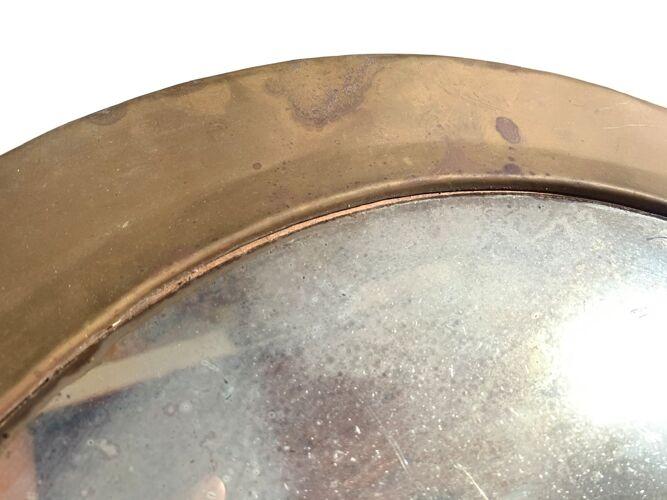 Miroir rond marocain en laiton années 70 49cm