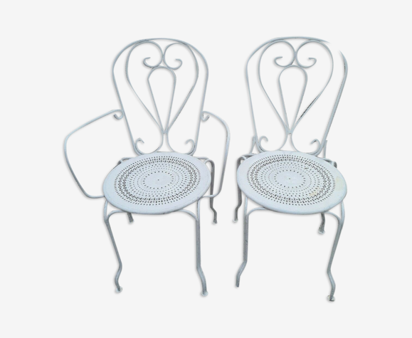 Chaise et fauteuil de jardin en fer