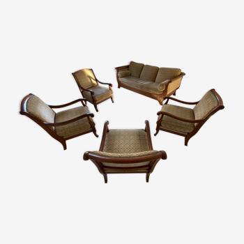Ensemble canapé lit 3 places avec 4 fauteuils assortis style directoire