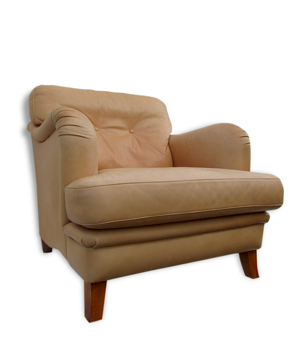 Wide bench studio cognac leather chair